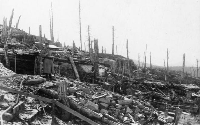 Sentinelle allemande au Bischofshut Vosges  1916
